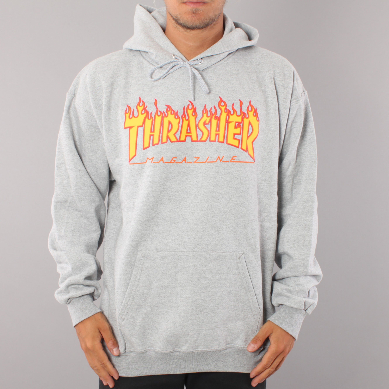 Thrasher Flame Logo Hoodie - Grey