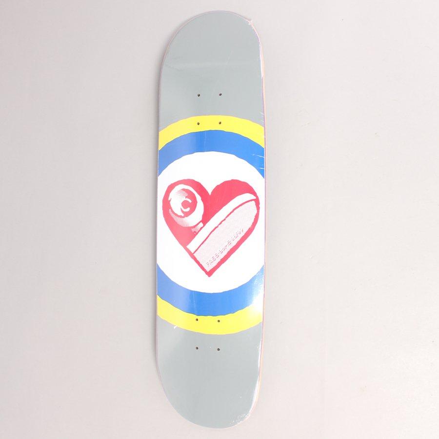 "Free Dome Skate Heart Grey Skateboard Deck - 8,25"""