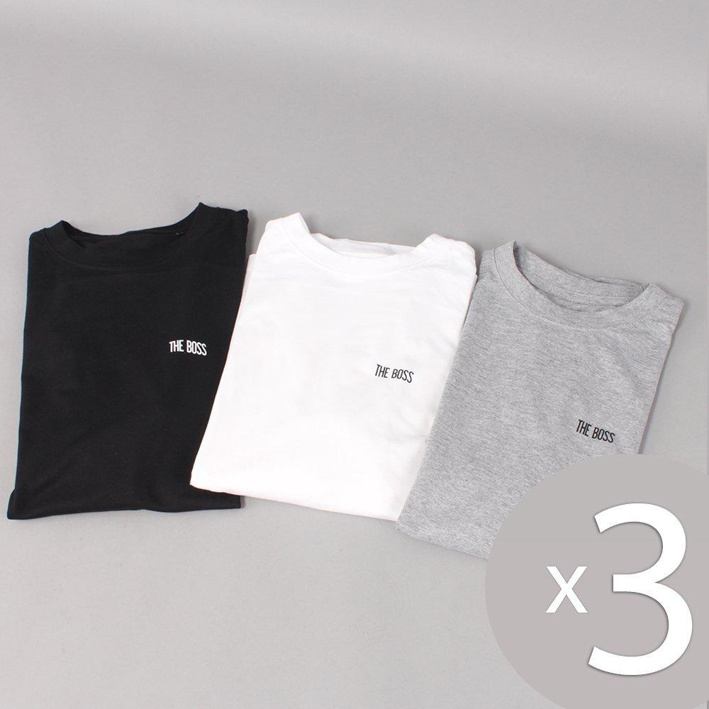 3 stk. The Boss Mini Logo T-shirts - Black/White/Grey