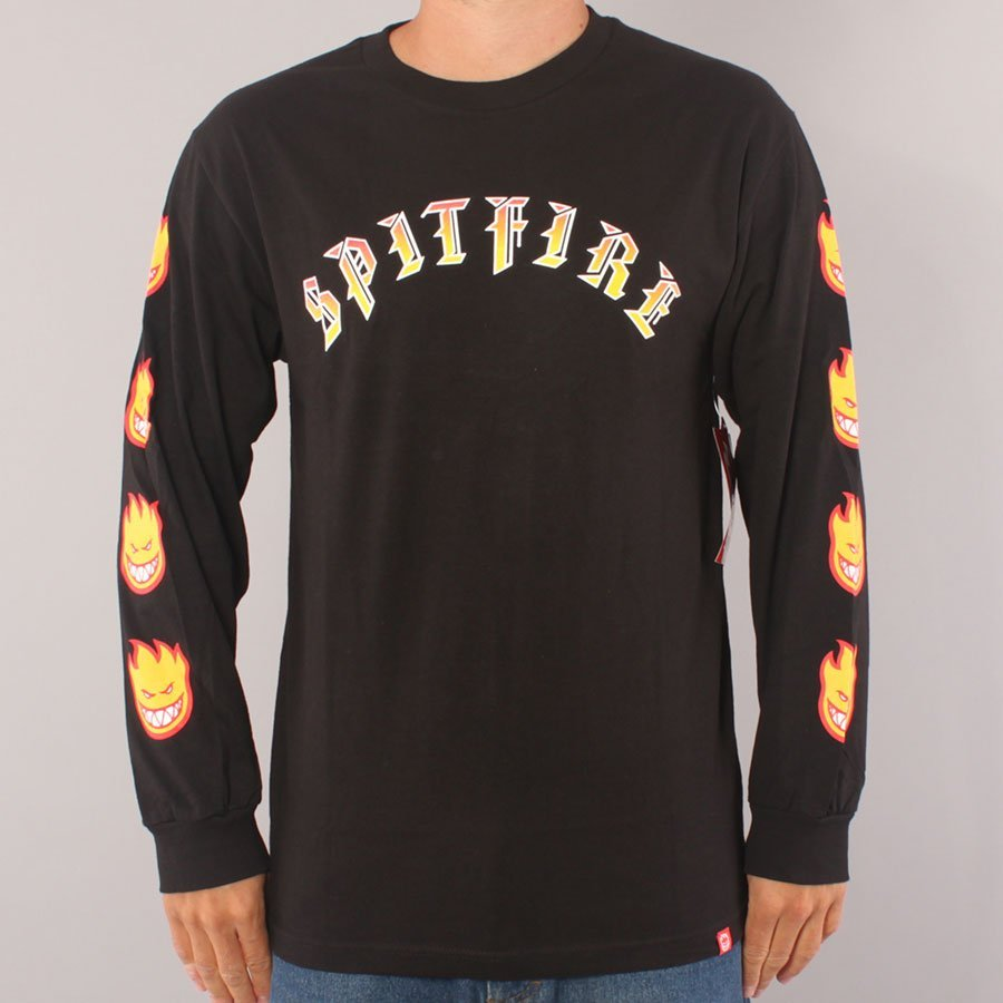 Spitfire Old E LS T-shirt - Black/Red/Yellow