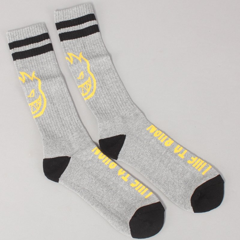 Spitfire Heads Up Socks - Grey/Yellow/Black