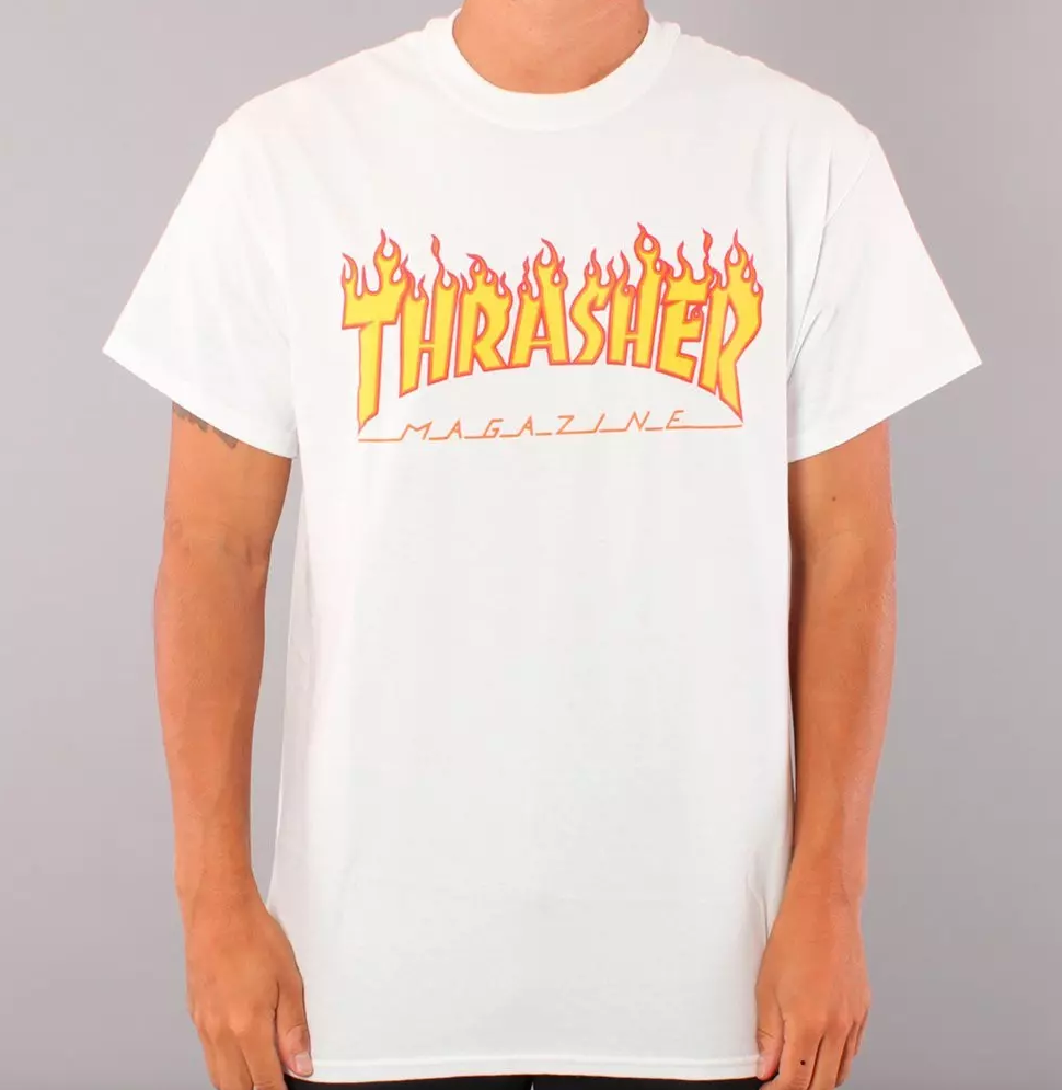 Thrasher Flame Youth T-shirt - White