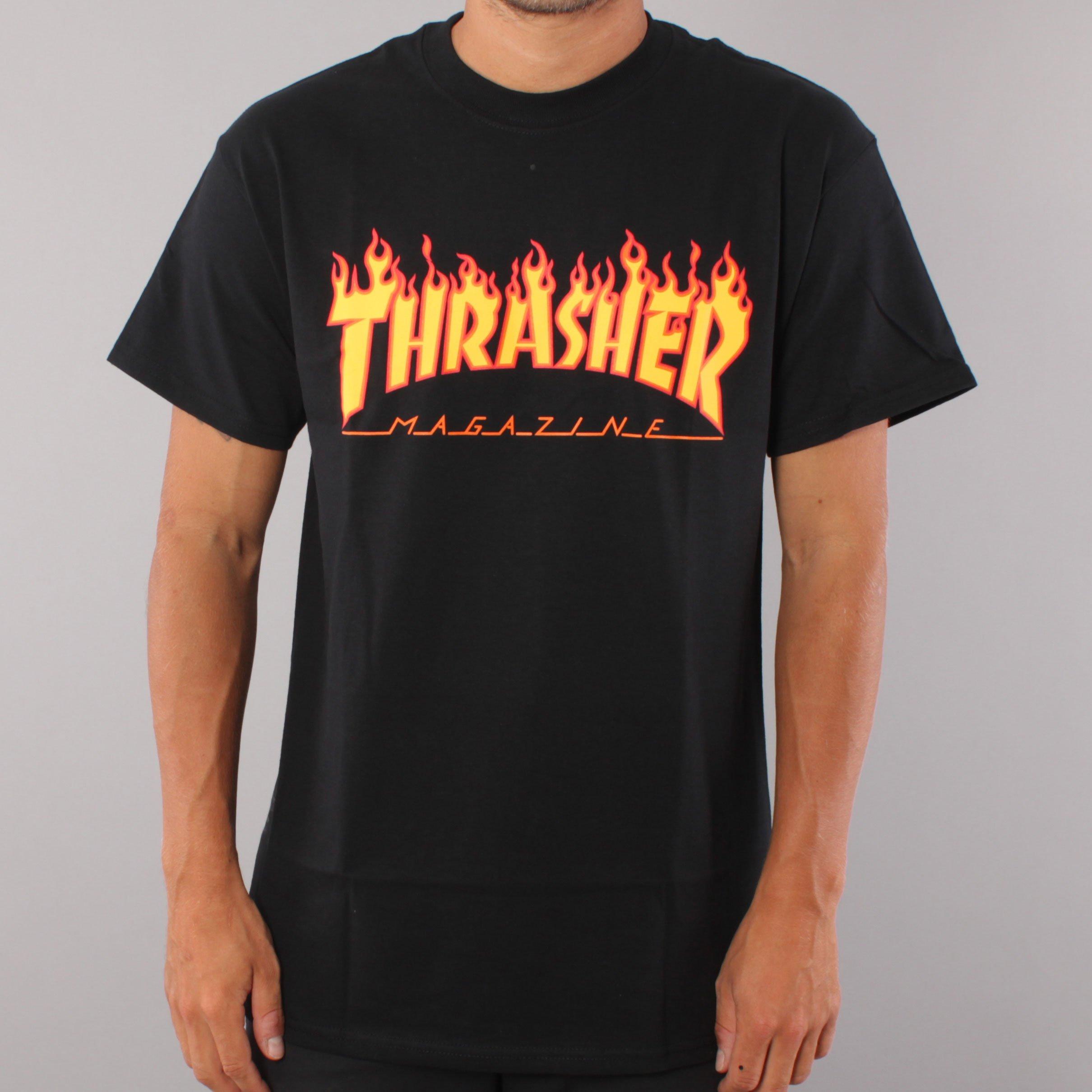 Thrasher Flame Logo T-shirt - Black