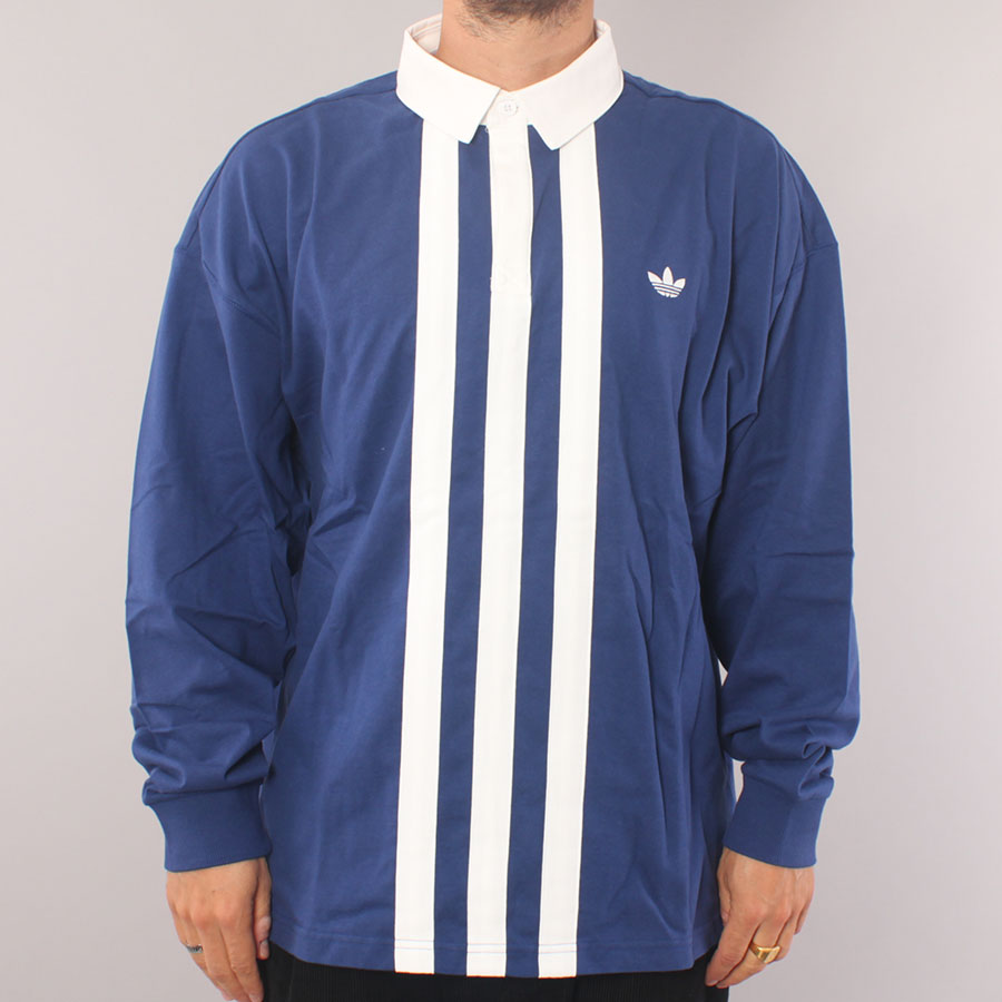 Adidas Skateboarding Rugby Jersey LS Polo Shirt - Blue/White