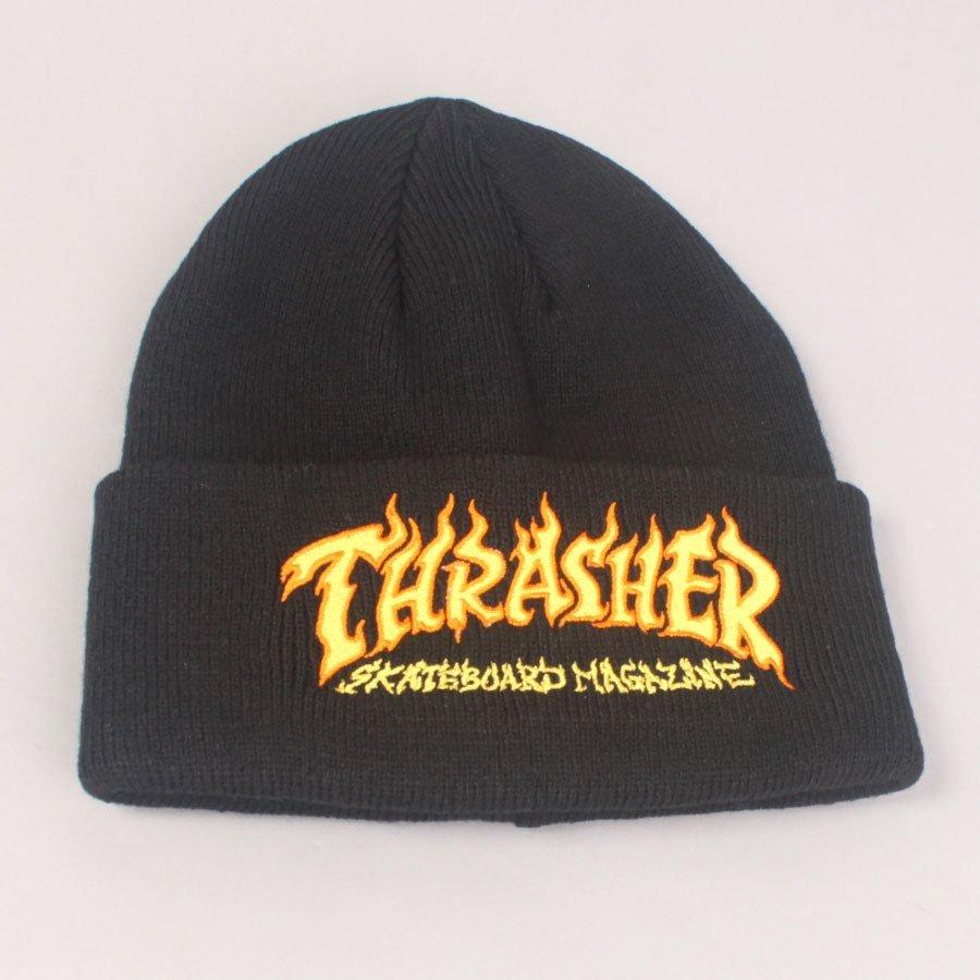 Thrasher Fire Logo Beanie - Black