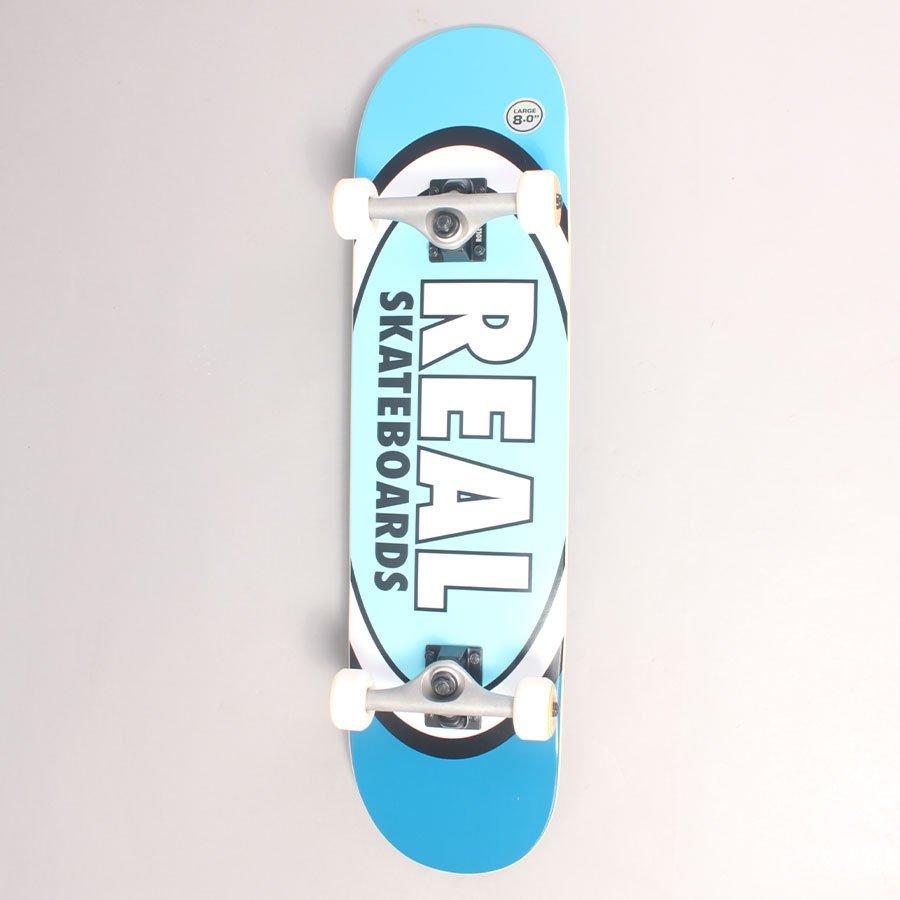 "Real Oval Blue Complete Skateboard - 8,00"""