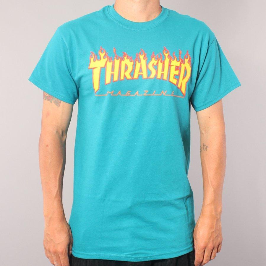 Thrasher Flame Logo T-shirt - Galapagos Blue