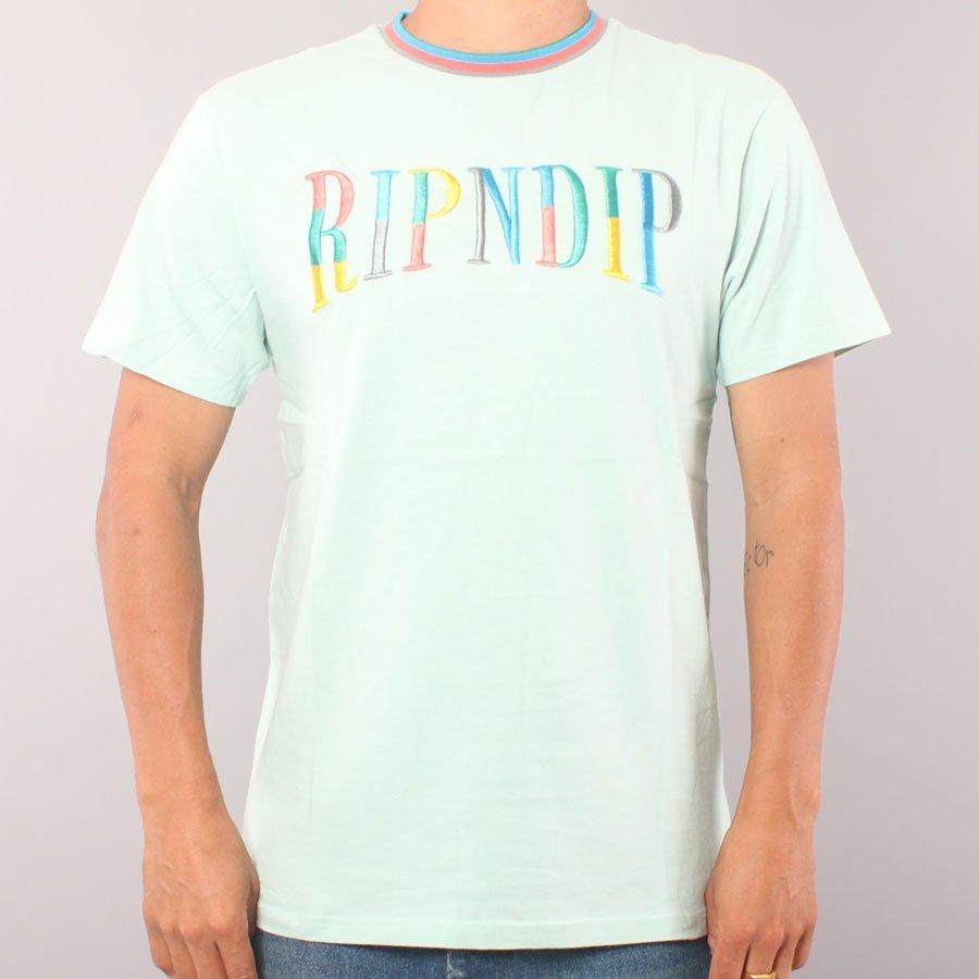 Rip N Dip Color Block Logo embr. T-shirt - Ice Blue