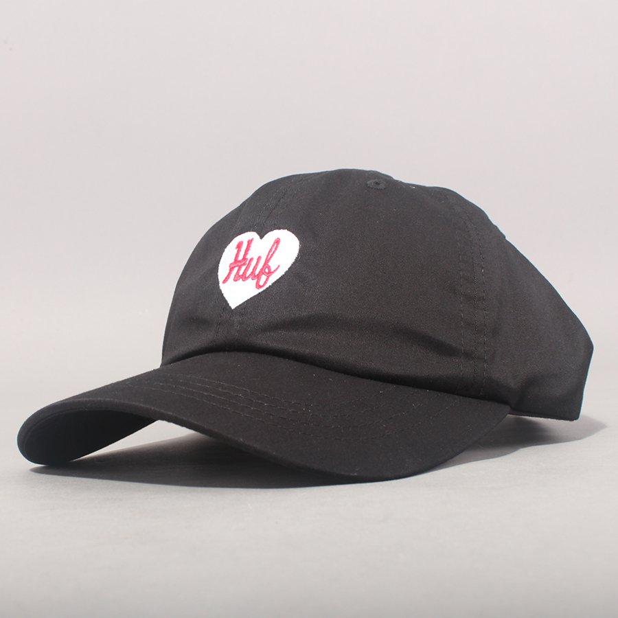 Huf Plastic Heart Curved Brim Cap - Black