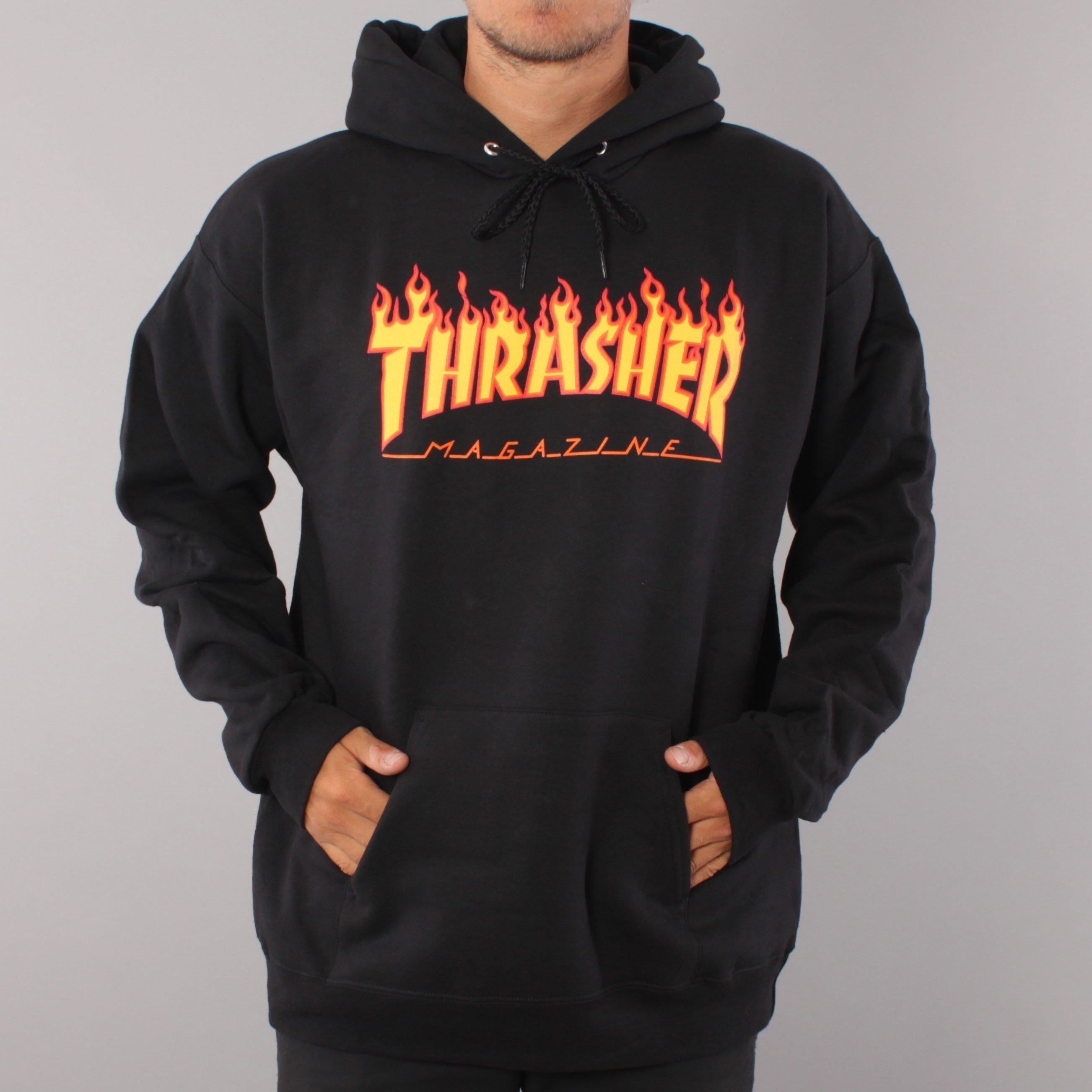 Thrasher Flame Youth Hood - Black