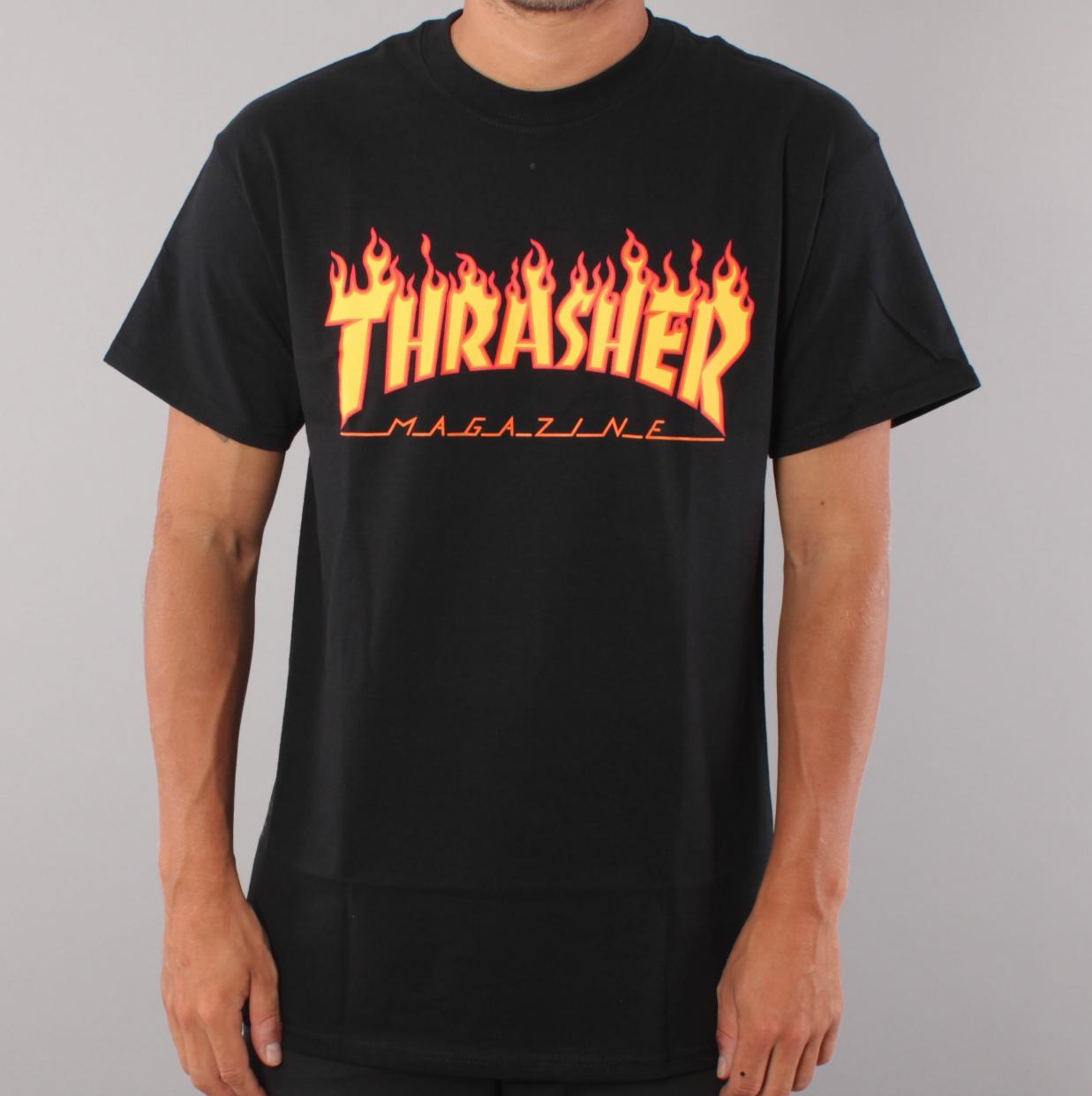 Thrasher Flame Youth T-shirt - Black
