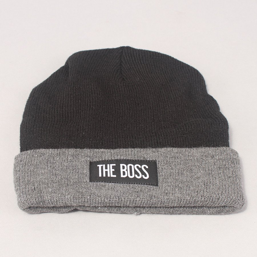 The Boss Logo Two Tone Beanie - Black/Grey